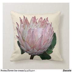 Protea Flower Ice-cream Throw Pillow   #protea  #cushions  #homeware  #interiordecor  #throwpillow