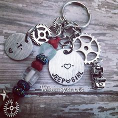 Personalized, Hand-Stamped Keychain Perfect for anyone who loves jeeps❤airplanes❤Dirt-bikes❤ATVs❤Motorcycles    This charm and stamping can be