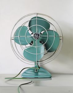 'GE Vintage Electric Fan' by contemporary realist painter Christopher Stott, oil on canvas (2011)