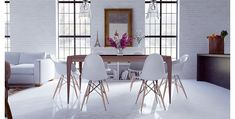 contemporary dining table and chairs interior white modern dining room sets fantasy awesome contemporary decorating ideas Eames Dining, White Dining Chairs, Wooden Dining Tables, Eames Chairs, Luxury Dining Room, Dining Room Sets, Dining Room Design, Scandinavian Dining Table, Contemporary Dining Table