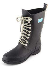 Black Lace-Up Rain Boot - Women by LeBunny Bleu #zulily #zulilyfinds