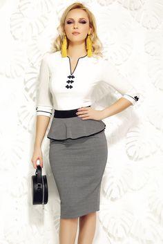 Comanda online, Camasa dama Fofy alba office din bumbac elastic cu insertii de broderie. Articole masurate, calitate garantata!