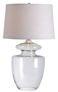 Apothecary Table Lamp - The exquisite style and profile of an old time pharmacist's jar, topped with a chic textured White Tapered Drum shade.