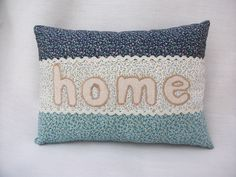 Blue Ditsy Floral Cushion with Home Applique £7.50 www.folksy.com/shops/cjscraftycreations