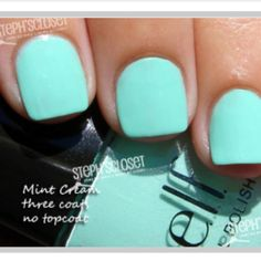 Kind of a lighter shade of Tiffany blue. Elf- Mint Cream Where can I get elf nail polish?