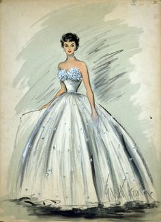"Edith Head : Sketch of Elizabeth Taylor's dress in ""A Place in the Sun"", 1951"