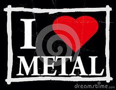 Grunge illustration of love to metal music