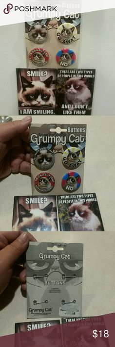 Brooch pin buttons GRUMPY CAT 4ct w bonus He's sooo cute  grumpy here is 4pcs button pin  brooch type pins for ur backpack ur bag to.collect to  gift    BONUS LARGE MAGNET 1 only  Apron 3x2.5 inches There's 2 pictured but you will get.the 1 I pick for u as a bonus ,   REMEMBER U ARE.ONLY PAYING FOR THE GRUMPY BROOCH PIN BUTTONS  Perfect  they are small size of a bottle cap.of a coke.bottle is say slightly.bigger then a inch    Gifts for her for him for kids teachers.collectors cat lady.kat…