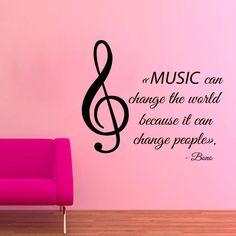 """""""La Música puede cambiar el mundo porque puede cambiar la gente  __""""Platon   Music Quote by Bono U2 Sticker Vinyl Wall Art"""