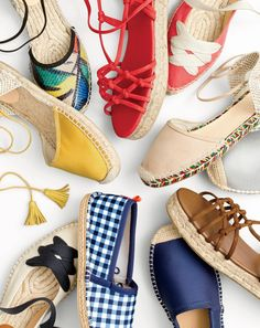 Classic with a twist: J.Crew women's espadrilles. First worn in the Spanish Pyrenees in the 14th century, now with ballet-inspired ties and multicolored jute soles for the 21st.