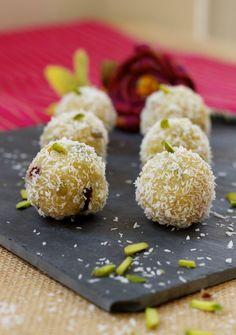 Semolina Coconut sweets with pistachios, cardamom and Arabic gum   Pukka Paki