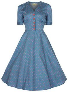 Lindy Bop - Tea, sofistikert blå 50 talls kjole med polkadots