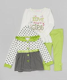 Another great find on #zulily! White & Green Polka Dot Swing Coat Set - Infant, Toddler & Girls by Kids Headquarters #zulilyfinds