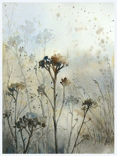 Winters meadow by ~mashami on deviantART (watercolor painting) Watercolor Landscape, Watercolor And Ink, Watercolour Painting, Watercolor Flowers, Painting & Drawing, Watercolours, Botanical Art, Painting Techniques, Painting Inspiration