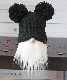 Mickey Gnome – Pom Pom Hat Gnome – Knit Hat Gnomes – Gnome – Norwegian Gnome – The Best Ideas Craft Stick Crafts, Crafts For Kids, Diy Crafts, Toddler Crafts, Pom Pom Hat, Pom Poms, Christmas Gnome, Crochet Patterns For Beginners, Holiday Crafts