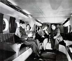 1945 Boeing promotional photo of interior of lower lounge of Boeing 377 Stratocruiser