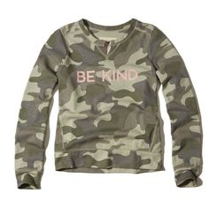 Hollister Notch Neck Graphic Crew Sweatshirt ($30) ❤ liked on Polyvore featuring tops, hoodies, sweatshirts, camo, fleece crew sweatshirt, crew neck tops, crew neck fleece sweatshirts, camo sweatshirts and graphic tops