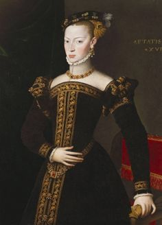 Joanna of Austria, daughter of the Holy Roman Emperor Charles V, was married in December 1552 to John of Portugal (see RCIN After his death in January 1554 she returned to Spain, where she ruled as regent until Mode Renaissance, Renaissance Fashion, Renaissance Clothing, 16th Century Clothing, 16th Century Fashion, Historical Costume, Historical Clothing, Austria, 1500s Fashion