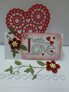 X-cut Vintage Notes filigree heart, Stamped Papermania 'With Love' Easel Wedding or Anniversary Card | docrafts.com