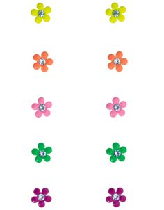 5 x Neon Flower Studs | Multi | Accessorize