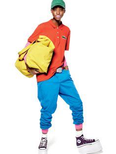 Lacoste shirt, American Apparel pink onesie, Daang Goodman for Tripp NYC blue pants, Tropical Trends hat, D tote, Buckle-Down belt, custom Converse sneakers