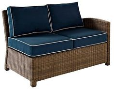 Crosley Bradenton Outdoor Wicker Sectional Right Corner Loveseat w/Navy Cushions