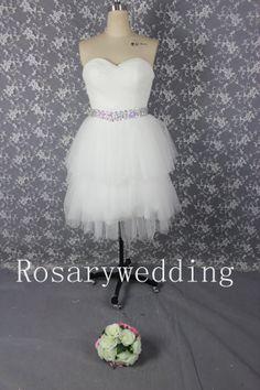 Cute sweetheart beading waist tulle short wedding dress on Etsy, $139.00