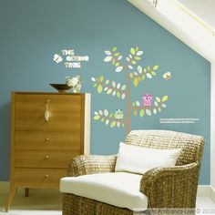 Sticker Arbre, hiboux & papillons - Stickers animaux | Ambiance-sticker