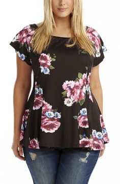 Shaped Bodice Top | floral  Style No: T1467 Slinky Jersey Fabric Top. This all over floral print top has a shaped panel detail on the body and an ever so subtle peplum shaped hemline. This top has short sleeves and a scoop neckline. #fashion #dreamdiva #plussize #dreamdivafiles