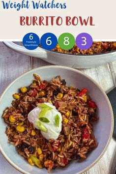 This Burrito Bowl is a tasty Weight Watchers dinner recipe. It works out at 3 SmartPoints if you follow the myWW Purple plan, 6 SmartPoints if your follow the Blue plan and 8 SmartPoints if you follow the Green plan. Easy to make and suitable for home freezing. #weightwatchersbluerecipes #weightwatcherspurplerecipes #weightwatchersgreenrecipes #weightwatchersrecipes #wwrecipes #wwburrito #wwrecipeswithpoints Ww Recipes, Easy Dinner Recipes, Healthy Recipes, Dinner Ideas, Easy Weekday Meals, Weightwatchers Recipes, Weight Watcher Dinners, Macro Meals, Frozen Meals