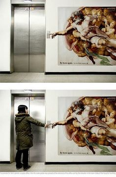 love this -Michaelangelo at the elevator. Talk about connecting with God!