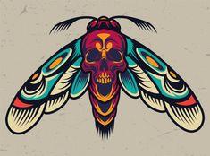 Vintage colorful scary moth | Free Vector #Freepik #freevector #vintage #retro #skull #tattoo Moth Tattoo Design, Vintage Tattoo Design, Tattoo Design Drawings, Pop Art Tattoos, Retro Tattoos, Old Tattoos, Traditional Tattoo Knee, Desenhos Old School, Tatuaje Old School