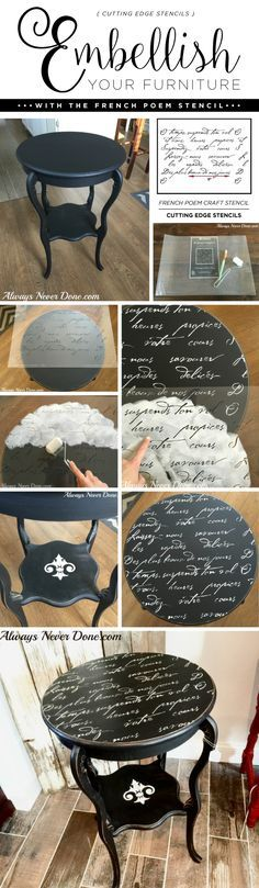 Embellish Your Furniture With the French Poem Stencil Cutting Edge Stencils shares a DIY side table makeover using the French Poem Craft Stencil and Chalk Paint. Paint Furniture, Furniture Projects, Furniture Makeover, Home Furniture, French Furniture, Bedroom Furniture, Furniture Design, Chair Design, Design Table