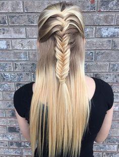 Fishtail Braid Half Up Half Down Hairstyle.