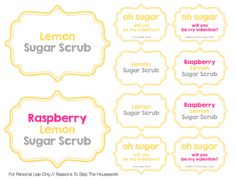 5 minute Simple Sugar Scrub Recipes with printable gift tags