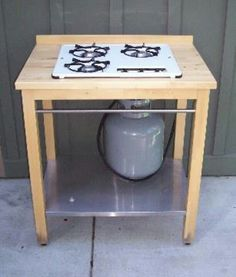 Outdoor stove ikea table and propane stove top...handy for cooking outside on hot days