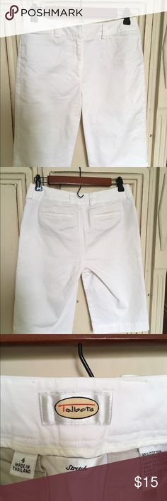Talbots's white stretch shorts Talbots's white cotton Bermuda shorts with a bit of stretch.  In perfect condition from non smoking home. Only worn once as they are a bit large for me. Talbots Shorts Bermudas
