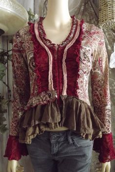 Lagenlook Corset Blouse Paisley Linen Lace with Ruffled Skirt Size S-M