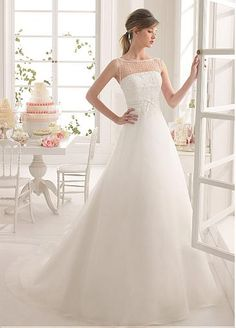 Elegant Tulle & Organza Satin Bateau Neckline Natural Waistline A-line Wedding Dress With Beaded Lace Appliques