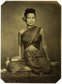 "Sbai or Sabai (Khmer: ស្បៃ; Thai: สไบ) shawl-like garment, or breast cloth worn in Mainland Southeast Asia. The term Sabai is used for a woman's silk breast wrapper in Cambodia, Central Thailand and Laos while in Coastal Sumatra it described as Shouldercloth. ."" Sabai also well known as a long piece of silk, about a foot wide, draped diagonally around the chest cover one shoulder which its end drop behind the back.""  The Sabai had noted as Cambodia's national costume"