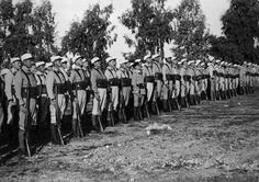 French Foreign Legion standing at attention, early 1900s.