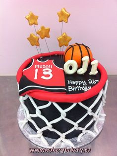 Basketball cake - thinking of doing this for my son's 18th but decorated in the Cleveland Cavaliers colours