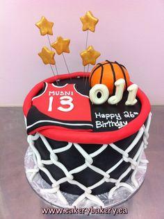 tarta de baloncesto en canasta