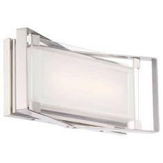 Kovacs P1182-L Led Bath Art Single Light 16 Wide Integrated LED Bath Bar with Mitered White Glass Shade - ADA Compliant