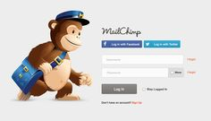 MailChimp's Login, v1. Facebook, Twitter, and User/Pass options.