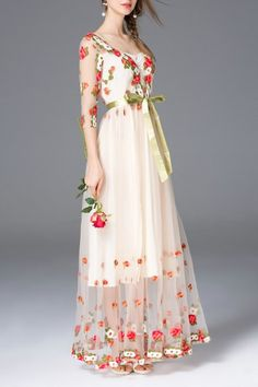 Flower Embroidered Bridal Dress - APRICOT M