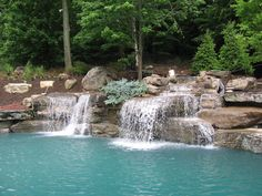 Swimming Pool Rock Waterfalls | mahwah-nj-natural-waterfalls-swimming-pool-landscaping-stone