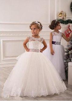 2015 Autumn Flower Girl Dresses Vintage Jewel Sash Lace Net Baby Girl Birthday Party        Christmas Princess Dresses Children Girl Party Dresses