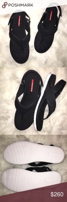 Authentic Prada Gabardine Thong Sandals Brand new authentic Prada black canvas Gabardine thing sandals in size 38.5. Pristine condition. Retails in stores at $490.00. Sold out everywhere!! Prada Shoes Sandals