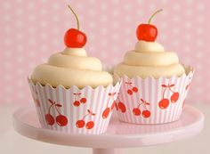 . . . quick and easy cherry cuppies with pretty cupcake wrappers from Maise Fantaisie